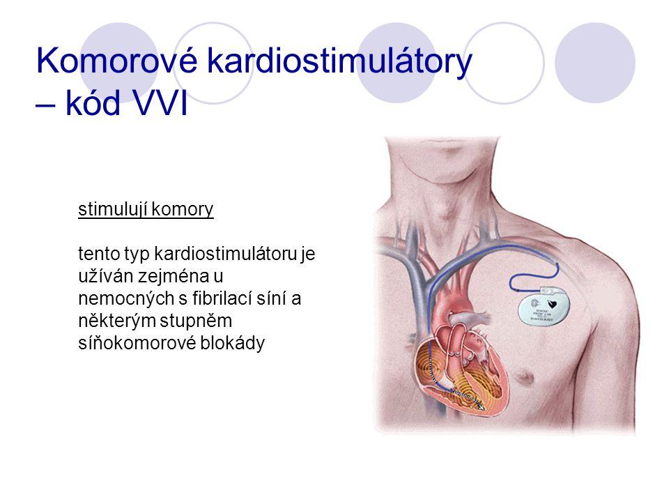 stimulují komory tento typ kardiostimulátoru je užíván zejména u nemocných s fibrilací síní a některým stupněm síňokomorové blokády Komorové kardiostimulátory – kód VVI