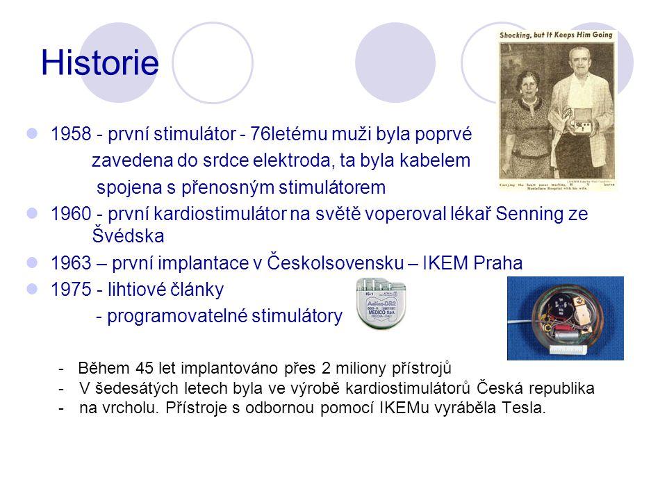 Historie 1958 - první stimulátor - 76letému muži byla poprvé zavedena do srdce elektroda, ta byla kabelem spojena s přenosným stimulátorem 1960 - první kardiostimulátor na světě voperoval lékař Senning ze Švédska 1963 – první implantace v Českolsovensku – IKEM Praha 1975 - lihtiové články - programovatelné stimulátory - Během 45 let implantováno přes 2 miliony přístrojů -V šedesátých letech byla ve výrobě kardiostimulátorů Česká republika -na vrcholu.