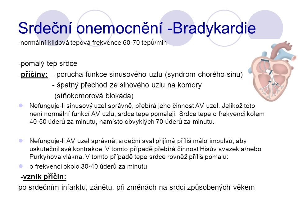 Srdeční onemocnění -Bradykardie -normální klidová tepová frekvence 60-70 tepů/min -pomalý tep srdce -příčiny: - porucha funkce sinusového uzlu (syndrom chorého sinu) - špatný přechod ze sinového uzlu na komory (síňokomorová blokáda) Nefunguje-li sinusový uzel správně, přebírá jeho činnost AV uzel.