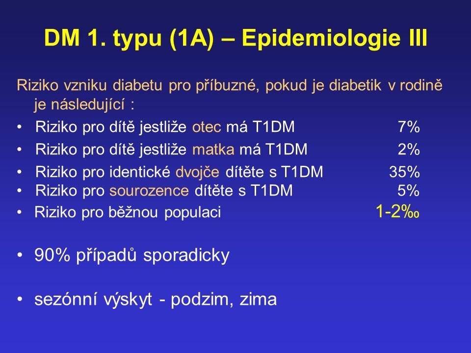 DM 1. typu (1A) – Epidemiologie III Riziko vzniku diabetu pro příbuzné, pokud je diabetik v rodině je následující : Riziko pro dítě jestliže otec má T