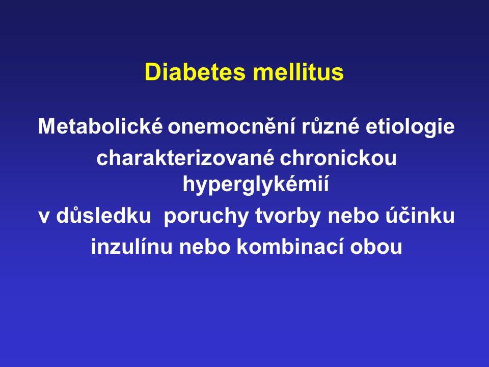 Diabetes mellitus Metabolické onemocnění různé etiologie charakterizované chronickou hyperglykémií v důsledku poruchy tvorby nebo účinku inzulínu nebo