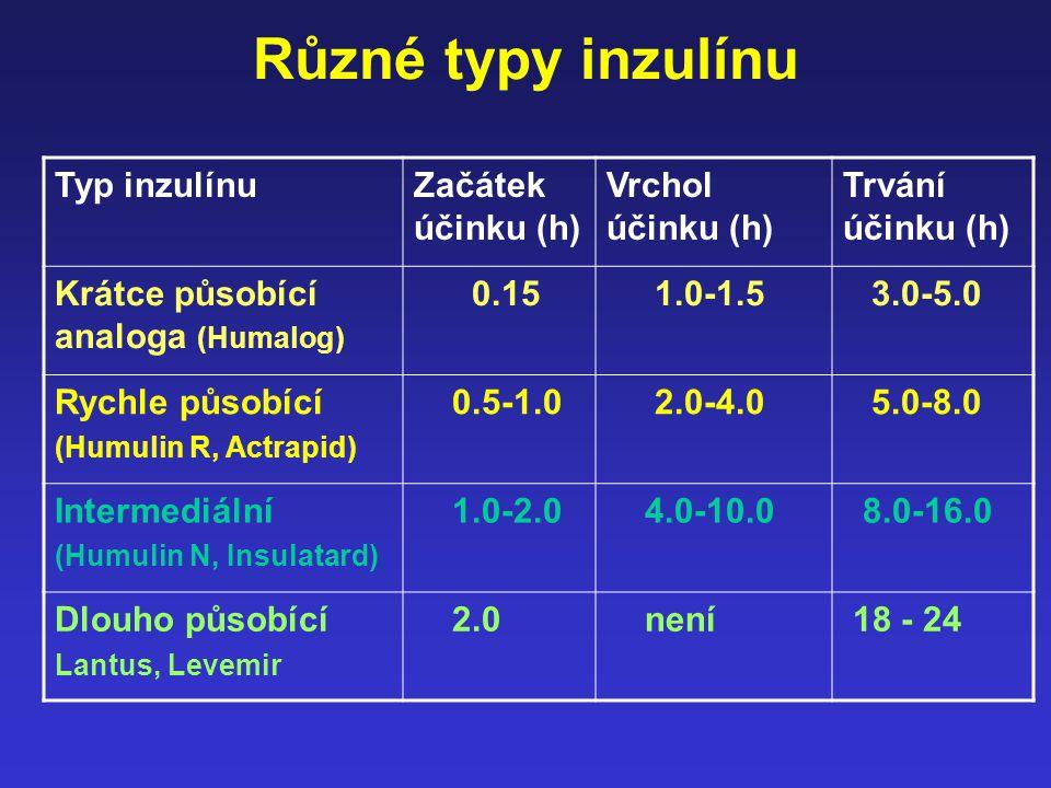 Různé typy inzulínu Typ inzulínuZačátek účinku (h) Vrchol účinku (h) Trvání účinku (h) Krátce působící analoga (Humalog) 0.15 1.0-1.5 3.0-5.0 Rychle p