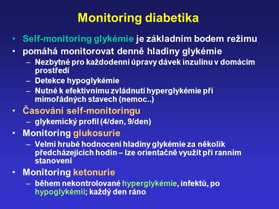 Monitoring diabetika Self-monitoring glykémie je základním bodem režimu pomáhá monitorovat denně hladiny glykémie –Nezbytné pro každodenní úpravy dáve