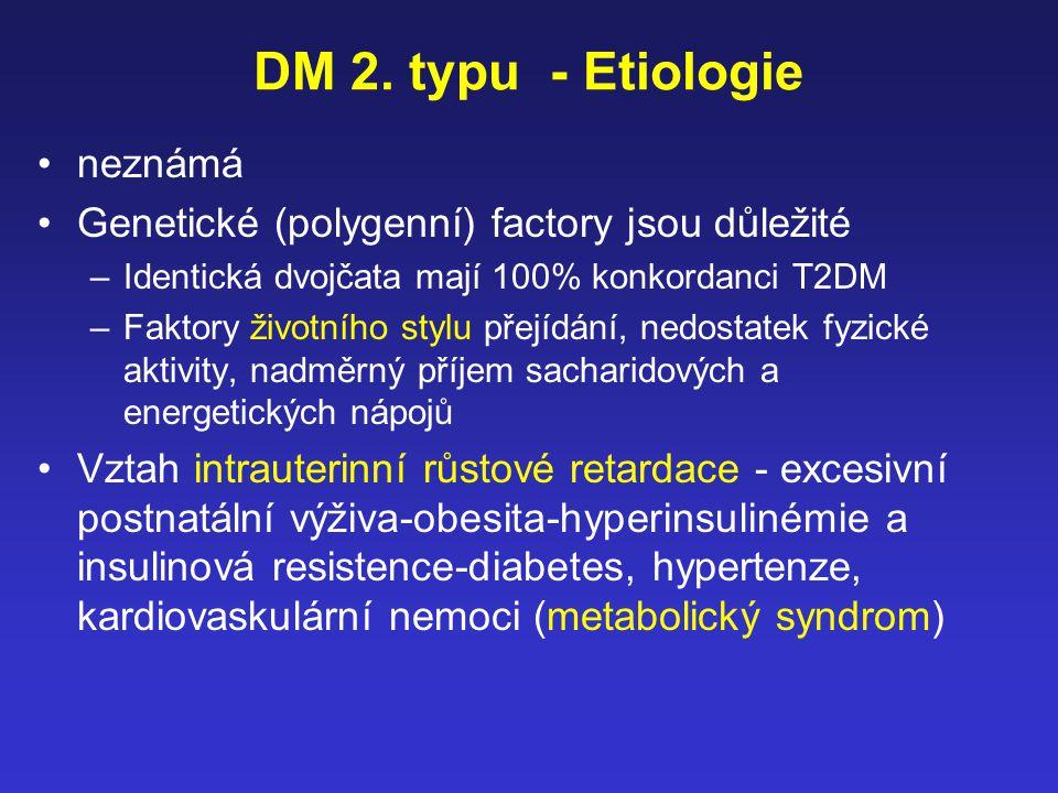 DM 2. typu - Etiologie neznámá Genetické (polygenní) factory jsou důležité –Identická dvojčata mají 100% konkordanci T2DM –Faktory životního stylu pře