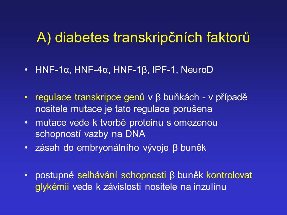 A) diabetes transkripčních faktorů HNF-1α, HNF-4α, HNF-1β, IPF-1, NeuroD regulace transkripce genů v β buňkách - v případě nositele mutace je tato reg