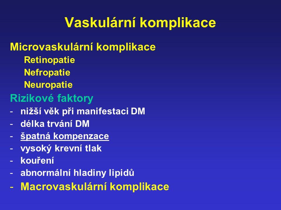 Vaskulární komplikace Microvaskulární komplikace Retinopatie Nefropatie Neuropatie Rizikové faktory -nižší věk při manifestaci DM -délka trvání DM -šp