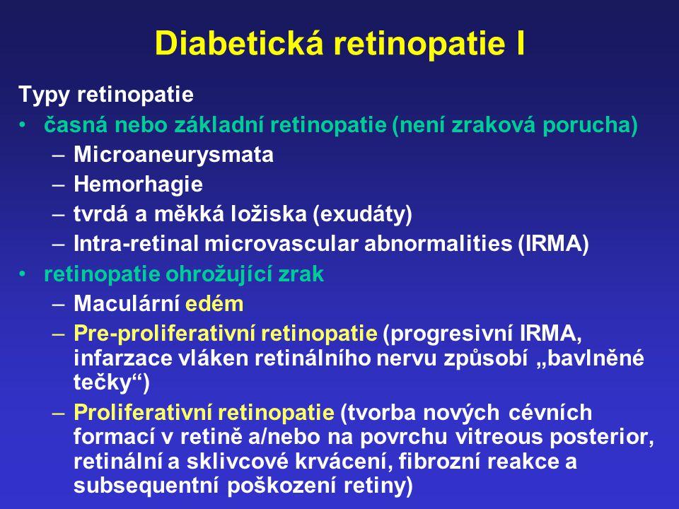 Diabetická retinopatie I Typy retinopatie časná nebo základní retinopatie (není zraková porucha) –Microaneurysmata –Hemorhagie –tvrdá a měkká ložiska