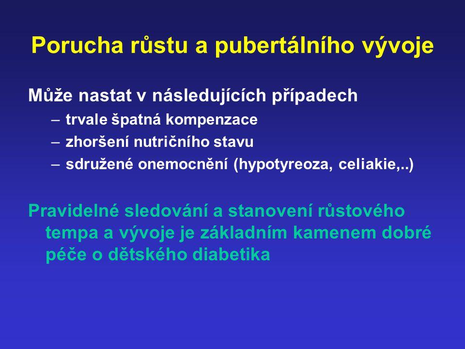 Porucha růstu a pubertálního vývoje Může nastat v následujících případech –trvale špatná kompenzace –zhoršení nutričního stavu –sdružené onemocnění (h