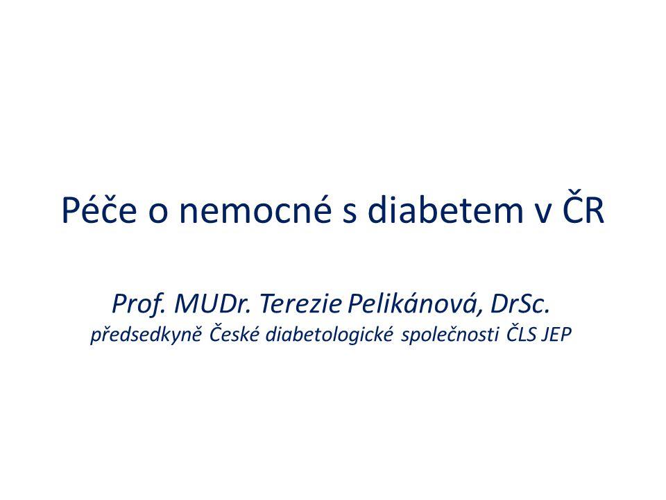 Péče o nemocné s diabetem v ČR Prof. MUDr. Terezie Pelikánová, DrSc. předsedkyně České diabetologické společnosti ČLS JEP