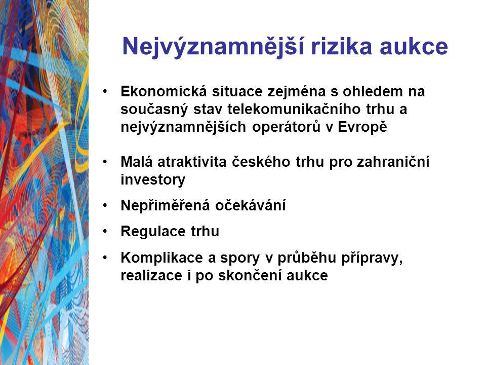 Nejvýznamnější rizika aukce Ekonomická situace zejména s ohledem na současný stav telekomunikačního trhu a nejvýznamnějších operátorů v Evropě Malá atraktivita českého trhu pro zahraniční investory Nepřiměřená očekávání Regulace trhu Komplikace a spory v průběhu přípravy, realizace i po skončení aukce