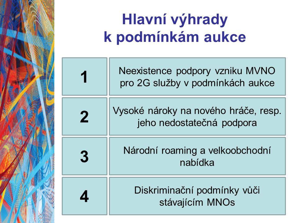 Hlavní výhrady k podmínkám aukce 1 Neexistence podpory vzniku MVNO pro 2G služby v podmínkách aukce 2 Vysoké nároky na nového hráče, resp.