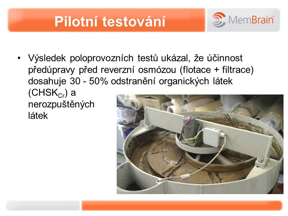 Pilotní testování Výsledek poloprovozních testů ukázal, že účinnost předúpravy před reverzní osmózou (flotace + filtrace) dosahuje 30 - 50% odstranění organických látek (CHSK Cr ) a nerozpuštěných látek