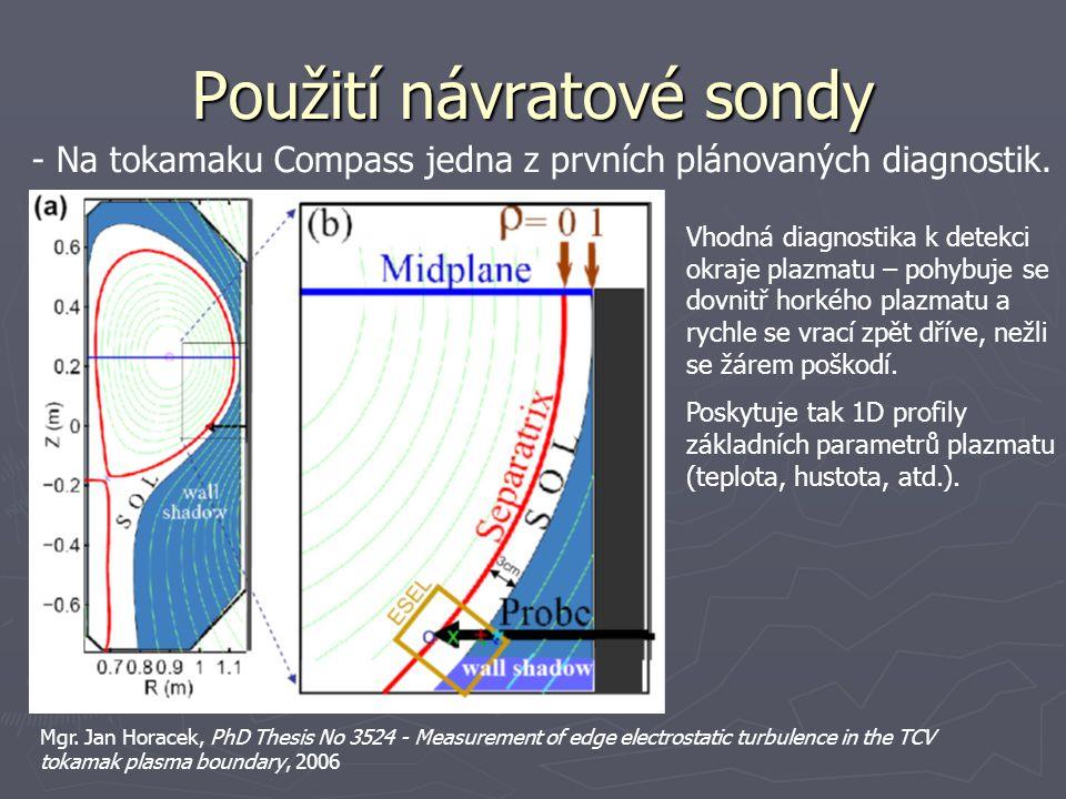 Použití návratové sondy Vhodná diagnostika k detekci okraje plazmatu – pohybuje se dovnitř horkého plazmatu a rychle se vrací zpět dříve, nežli se žár