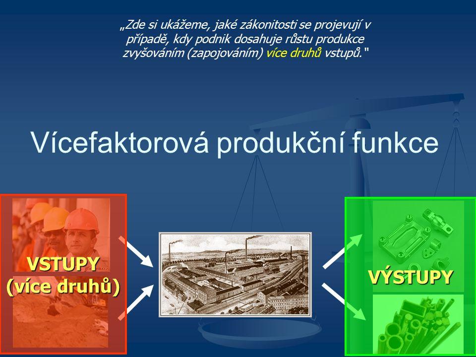 """Vícefaktorová produkční funkce """"Zde si ukážeme, jaké zákonitosti se projevují v případě, kdy podnik dosahuje růstu produkce zvyšováním (zapojováním) v"""