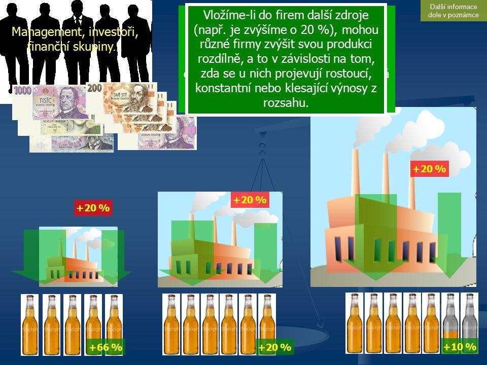 Výnosy z rozsahu Management, investoři, finanční skupiny… Vložíme-li do různých firem určité množství zdrojů (zde vyjádřeno peněžní částkou, což může