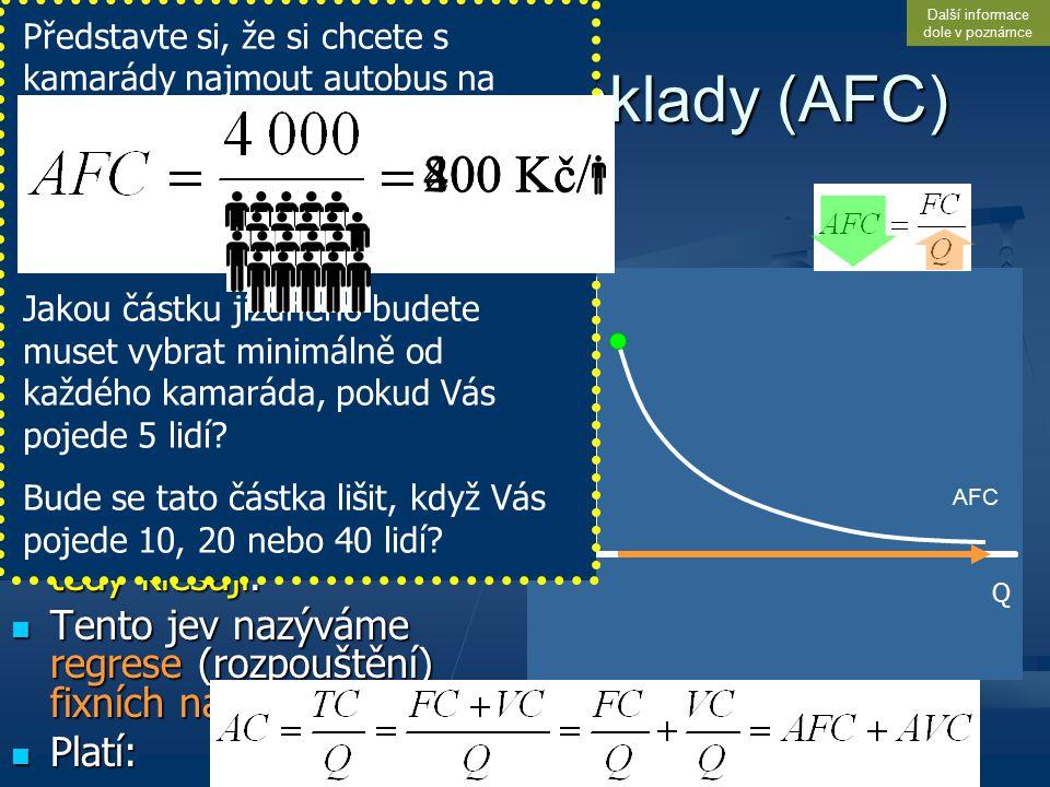 Kč Q Průměrné fixní náklady (AFC) Je běžné, že s růstem produkce jsou (konstantní) fixní náklady rozdělovány na stále větší počet jednotek produkce (p