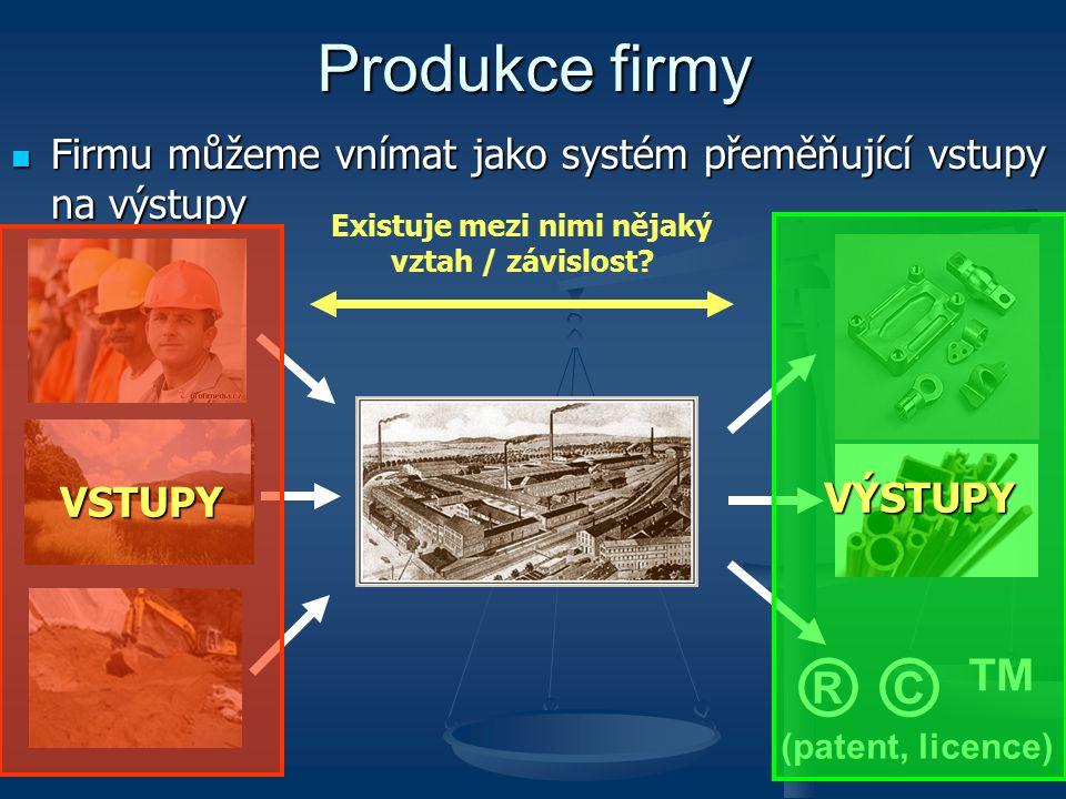 Produkční funkce vyjadřuje, že v realitě existuje závislost mezi výstupem firmy (produktem) a použitými vstupy; říkáme, že výstup firmy je funkcí různých VF Produkční funkce vyjadřuje, že v realitě existuje závislost mezi výstupem firmy (produktem) a použitými vstupy; říkáme, že výstup firmy je funkcí různých VF Pro zjednodušení se často používá jednofaktorová produkční funkce popisuje situaci, kdy velikost produkce firmy je v podstatě výlučně závislá na množství jednoho použitého VF, tedy Q = f (L) – např.