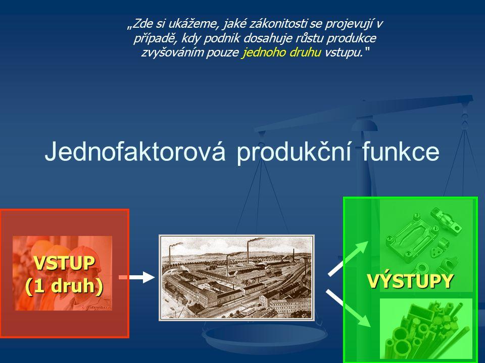 Jednofaktorová produkční funkce Kategorii produktu je (obdobně jako užitek v teorii spotřebitele) vhodné sledovat z pohledu celkových i mezních veličin: Celkový produkt (TP – total product) = celkové množství výstupu (ve fyzických jednotkách) vyprodukovaného určitým množstvím jednoho vstupu.