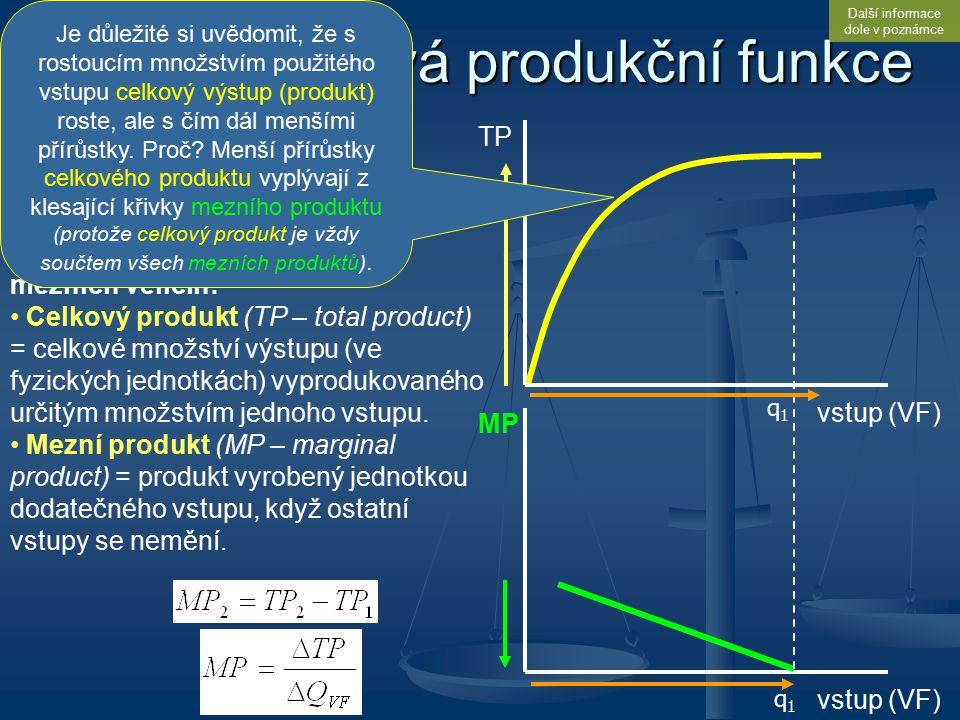 Jednofaktorová produkční funkce Kategorii produktu je (obdobně jako užitek v teorii spotřebitele) vhodné sledovat z pohledu celkových i mezních veliči
