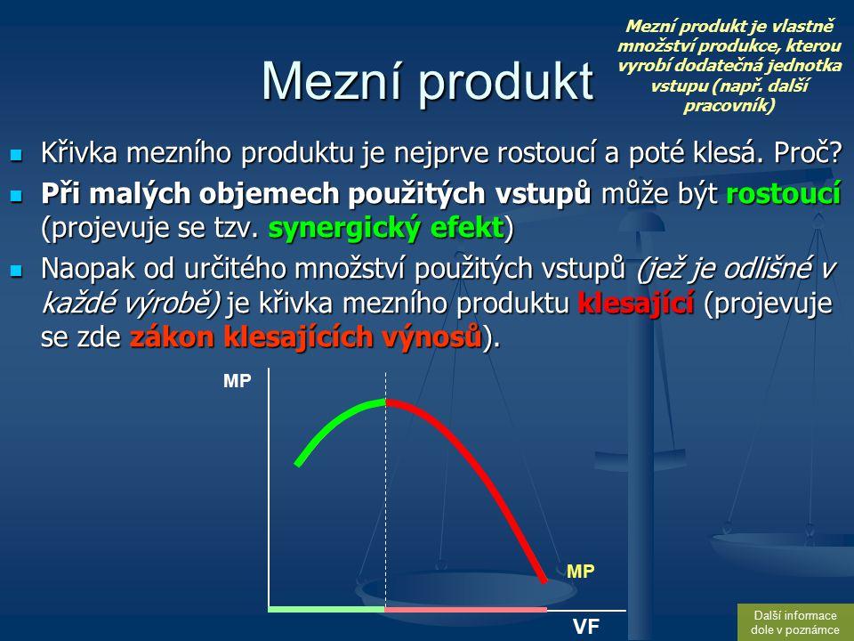 Vztah ceny a vyrobené produkce v NK V nedokonalé konkurenci cena závisí na objemu produkce firmy V nedokonalé konkurenci cena závisí na objemu produkce firmy cena s růstem objemu výroby klesá, protože firma musí snížit cenu aby mohla prodat další jednotku produkce => cena s růstem objemu výroby klesá, protože firma musí snížit cenu aby mohla prodat další jednotku produkce => křivka TR je nelineární s klesajícími přírůstky (křivka TR roste, dokud je MR kladný a klesá, pokud je MR záporný) křivka TR je nelineární s klesajícími přírůstky (křivka TR roste, dokud je MR kladný a klesá, pokud je MR záporný) křivka AR je klesající (stejně jako křivka MR, která však klesá rychleji) křivka AR je klesající (stejně jako křivka MR, která však klesá rychleji) Q P D = AR 50 Q1Q1 Q2Q2 Q3Q3 MR = V DK je křivka poptávky totožná s křivkou AR a MR.
