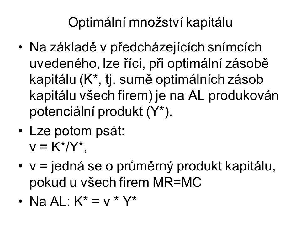 Optimální množství kapitálu Na základě v předcházejících snímcích uvedeného, lze říci, při optimální zásobě kapitálu (K*, tj. sumě optimálních zásob k