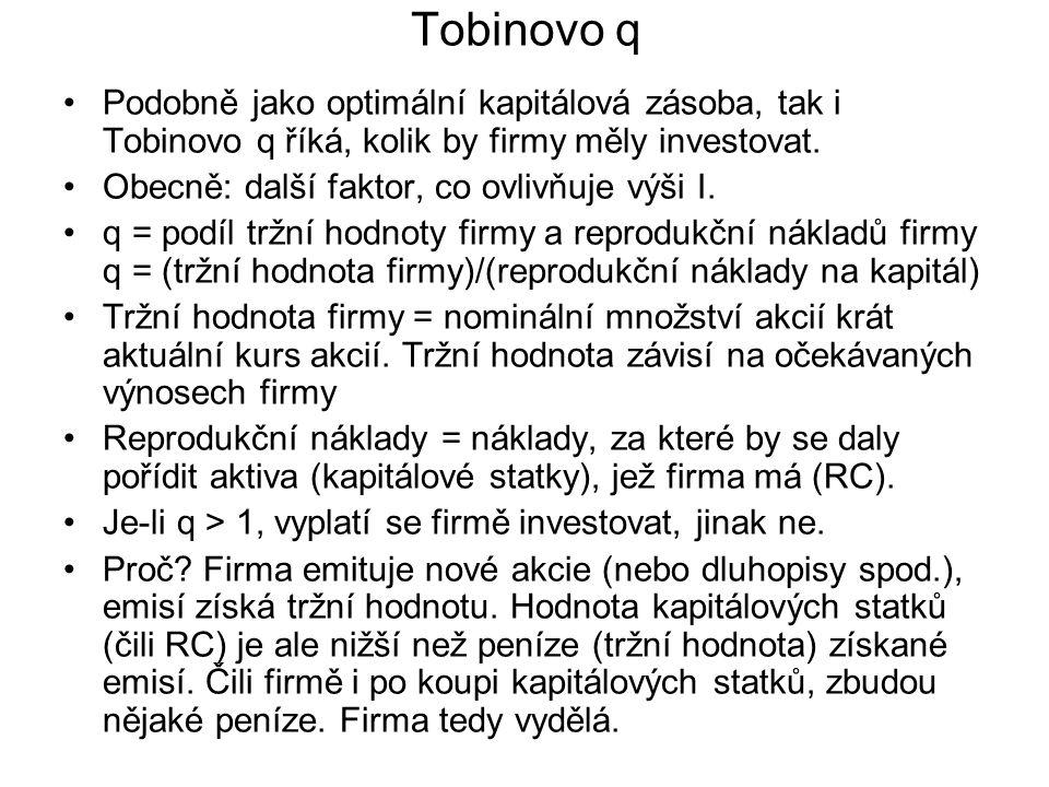 Tobinovo q Podobně jako optimální kapitálová zásoba, tak i Tobinovo q říká, kolik by firmy měly investovat.