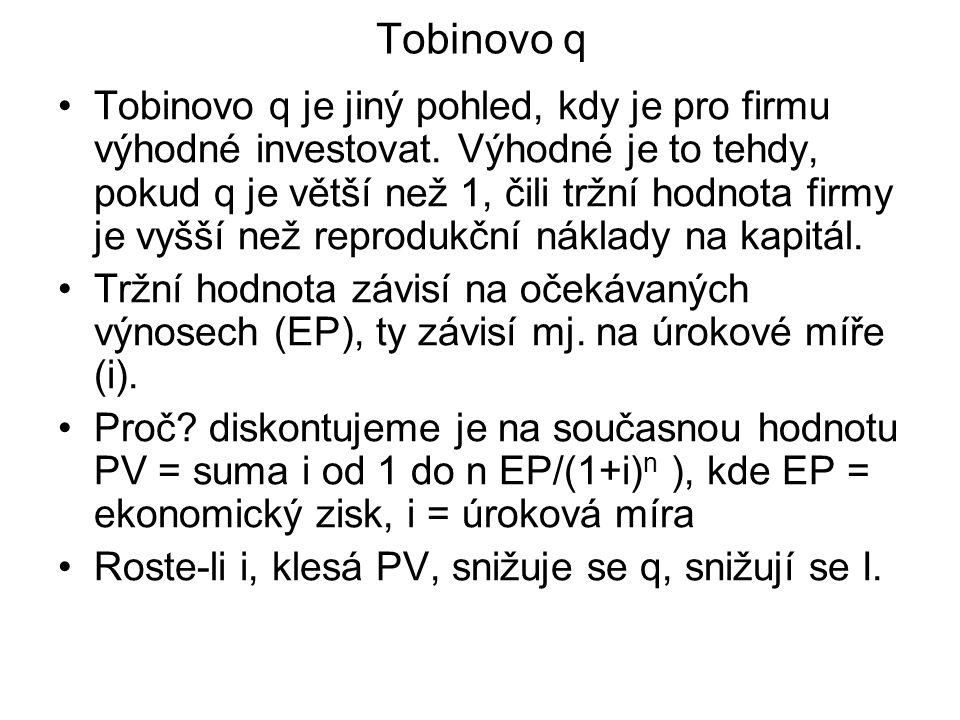 Tobinovo q Tobinovo q je jiný pohled, kdy je pro firmu výhodné investovat. Výhodné je to tehdy, pokud q je větší než 1, čili tržní hodnota firmy je vy