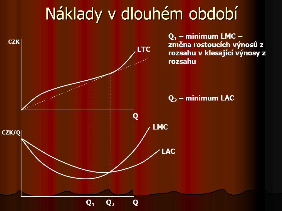 Náklady v dlouhém období vvvv dlouhém období neexistují fixní náklady – náklady na práci i kapitál jsou variabilní ddddlouhodobé celkové náklady (Long Total Costs): LTC = w.L + r.K ddddlouhodobé průměrné náklady: LAC = LTC/Q ddddlouhodobé mezní náklady: LMC = ∂LTC/∂Q ttttvar křivek dlouhodobých nákladů je determinován charakterem výnosů z rozsahu (analogie s výnosy z variabilního v stupu u krátkodobých nákladů)