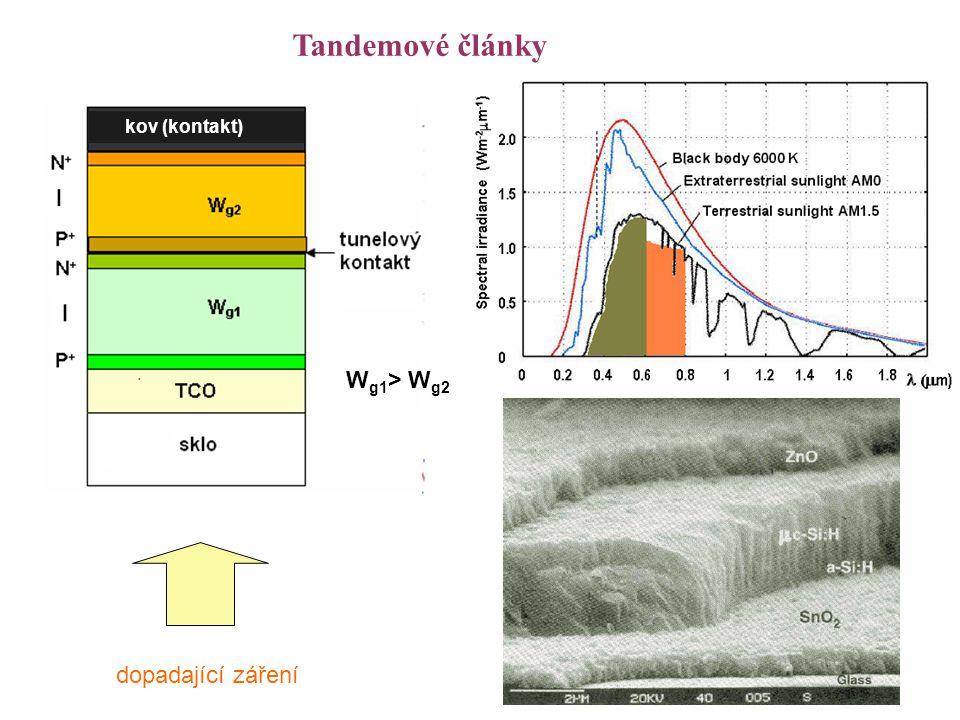 Tandemové články dopadající záření W g1 > W g2 kov (kontakt)