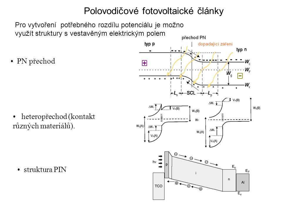 PN přechod heteropřechod (kontakt různých materiálů). struktura PIN Polovodičové fotovoltaické články Pro vytvoření potřebného rozdílu potenciálu je m