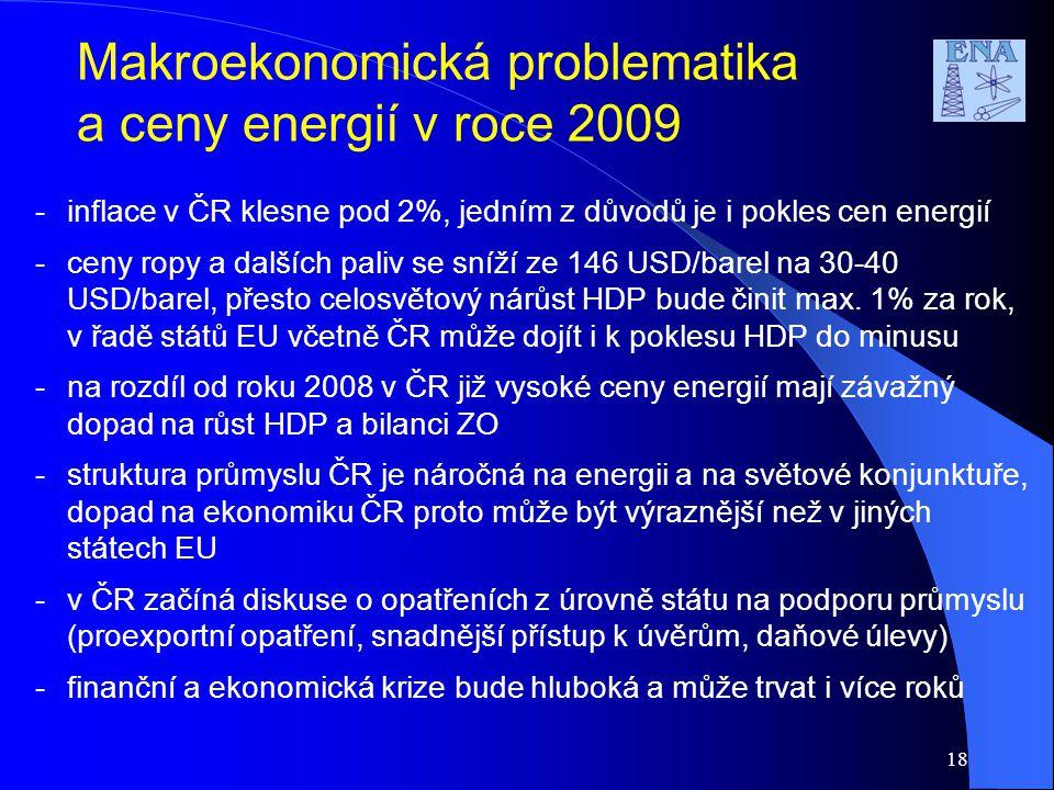 18 -inflace v ČR klesne pod 2%, jedním z důvodů je i pokles cen energií -ceny ropy a dalších paliv se sníží ze 146 USD/barel na 30-40 USD/barel, přest