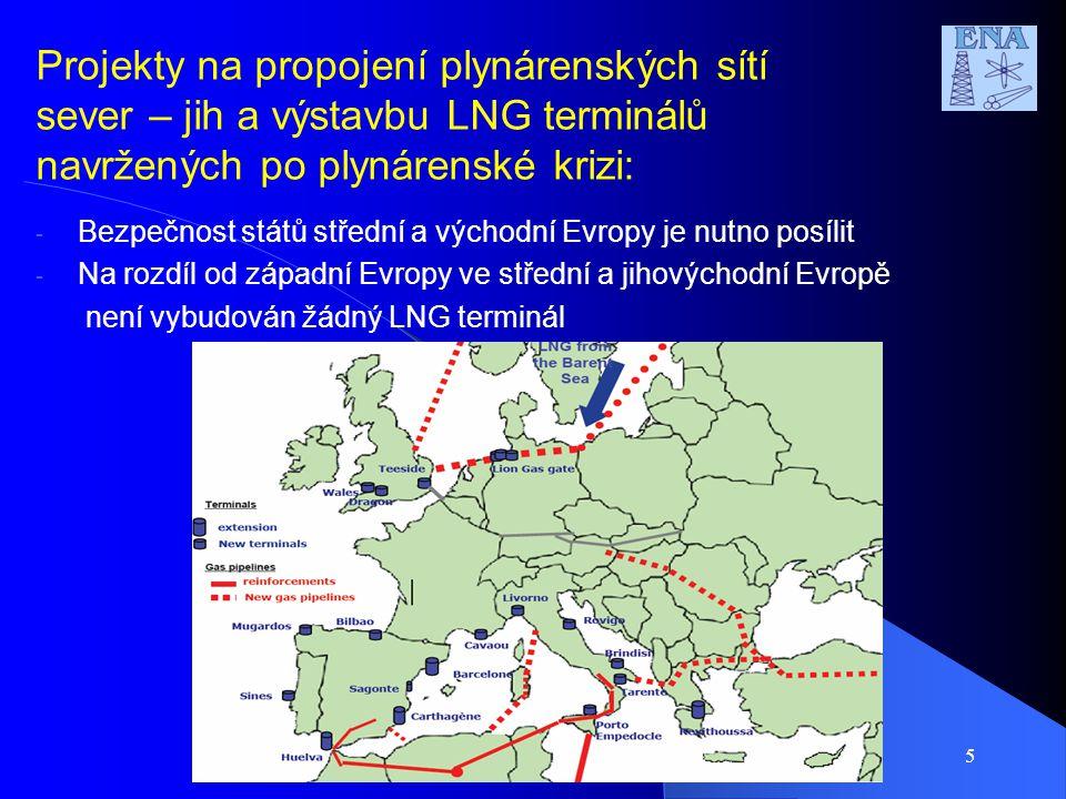 Projekty na propojení plynárenských sítí sever – jih a výstavbu LNG terminálů navržených po plynárenské krizi: - Bezpečnost států střední a východní E
