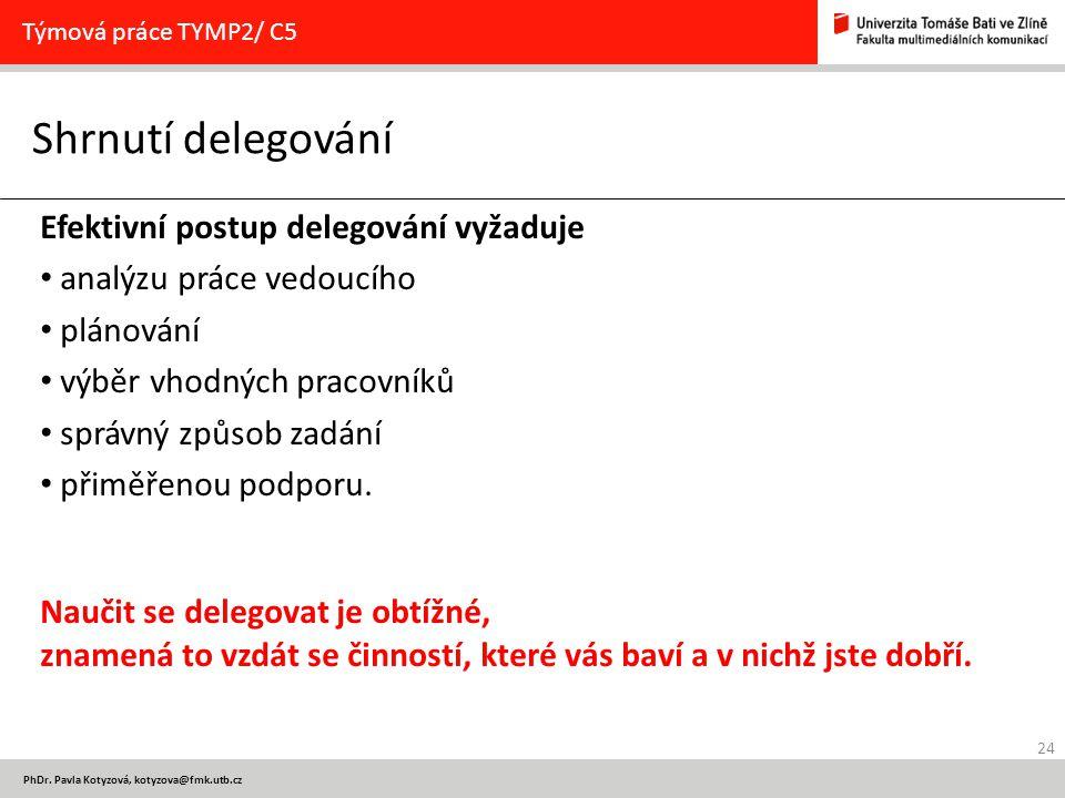 24 PhDr. Pavla Kotyzová, kotyzova@fmk.utb.cz Shrnutí delegování Týmová práce TYMP2/ C5 Efektivní postup delegování vyžaduje analýzu práce vedoucího pl