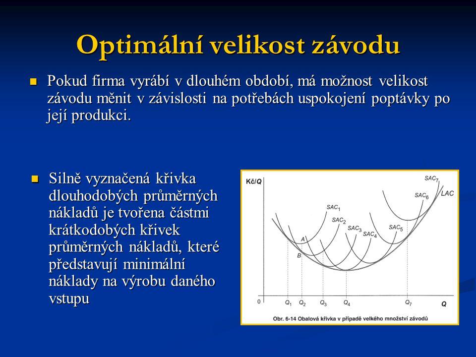 Optimální velikost závodu Pokud firma vyrábí v dlouhém období, má možnost velikost závodu měnit v závislosti na potřebách uspokojení poptávky po její