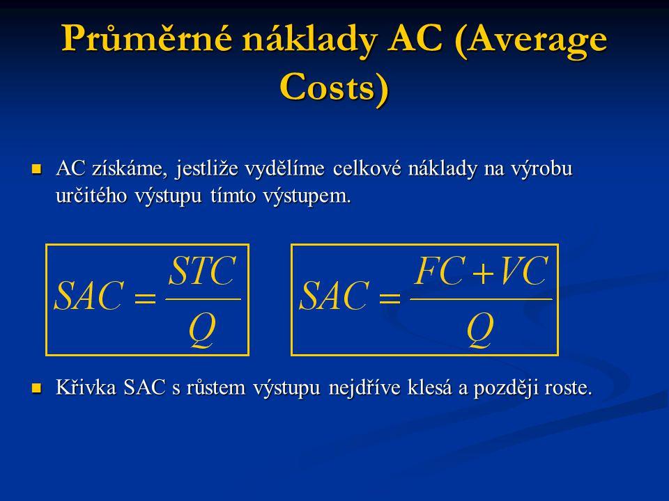 Mezní náklady MC Jsou definované jako přírůstek celkových nákladů, vyvolaný zvětšením výstupu o jednotku Jsou definované jako přírůstek celkových nákladů, vyvolaný zvětšením výstupu o jednotku Mezní náklady s růstem výstupu nejdříve klesají a posléze rostou.