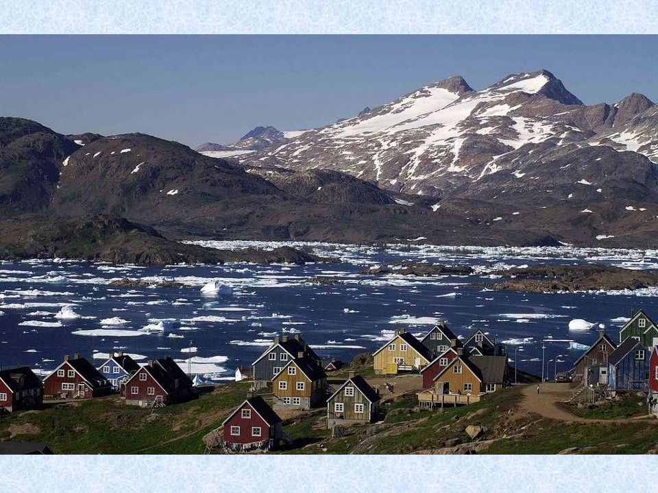 Grónsko je největší ostrov na světě, z větší části leží za polárním kruhem. Trvale bez ledu je jen 15% jeho území (asi o velikosti Britských ostrovů)