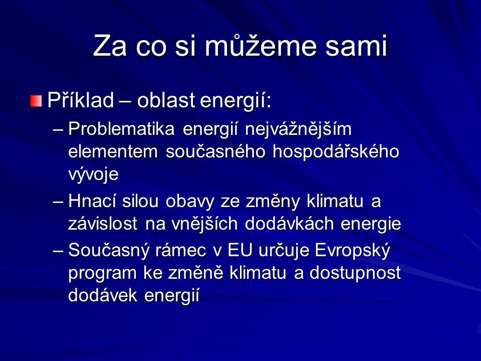 Za co si můžeme sami Příklad – oblast energií: –Problematika energií nejvážnějším elementem současného hospodářského vývoje –Hnací silou obavy ze změny klimatu a závislost na vnějších dodávkách energie –Současný rámec v EU určuje Evropský program ke změně klimatu a dostupnost dodávek energií