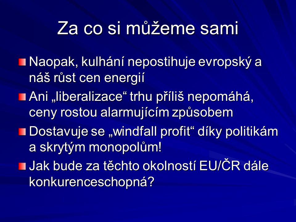 """Za co si můžeme sami Naopak, kulhání nepostihuje evropský a náš růst cen energií Ani """"liberalizace trhu příliš nepomáhá, ceny rostou alarmujícím způsobem Dostavuje se """"windfall profit díky politikám a skrytým monopolům."""