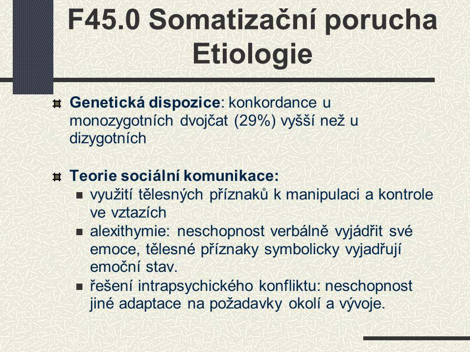 F45.0 Somatizační porucha Etiologie Genetická dispozice: konkordance u monozygotních dvojčat (29%) vyšší než u dizygotních Teorie sociální komunikace: