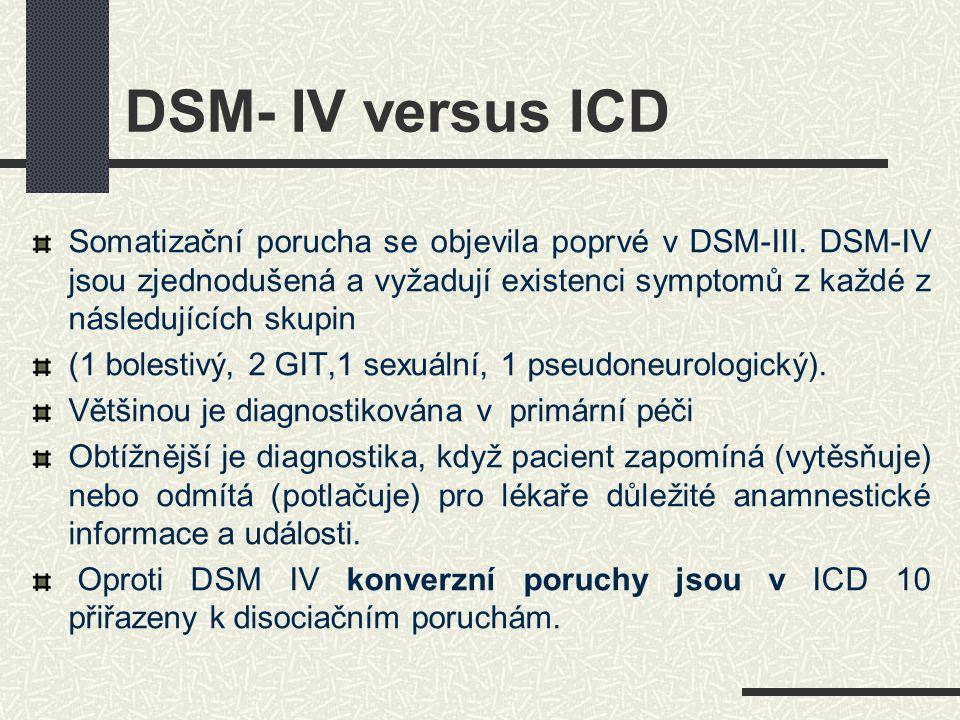 DSM- IV versus ICD Somatizační porucha se objevila poprvé v DSM-III. DSM-IV jsou zjednodušená a vyžadují existenci symptomů z každé z následujících sk