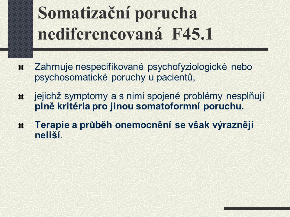 Somatizační porucha nediferencovaná F45.1 Zahrnuje nespecifikované psychofyziologické nebo psychosomatické poruchy u pacientů, jejichž symptomy a s ni