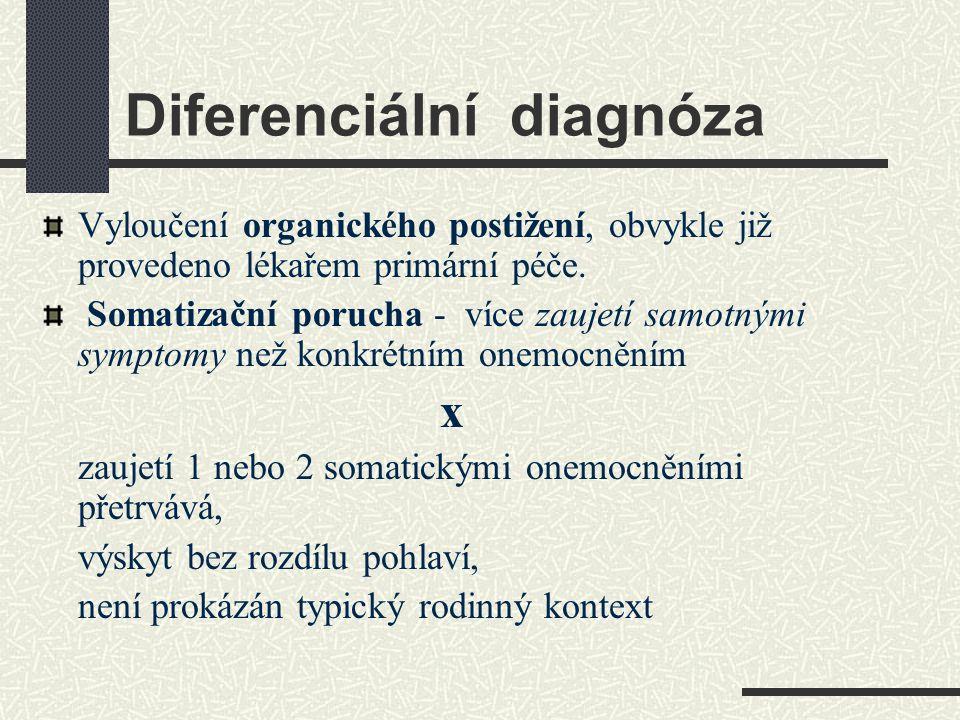 Diferenciální diagnóza Vyloučení organického postižení, obvykle již provedeno lékařem primární péče. Somatizační porucha - více zaujetí samotnými symp
