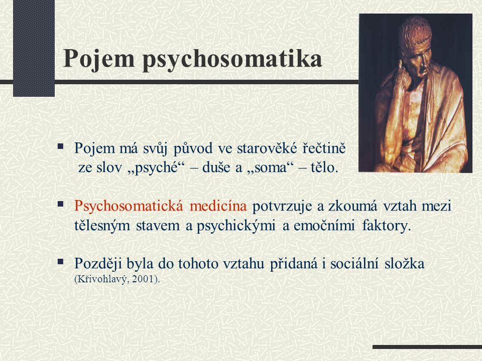 """Pojem psychosomatika  Pojem má svůj původ ve starověké řečtině ze slov """"psyché"""" – duše a """"soma"""" – tělo.  Psychosomatická medicína potvrzuje a zkoumá"""