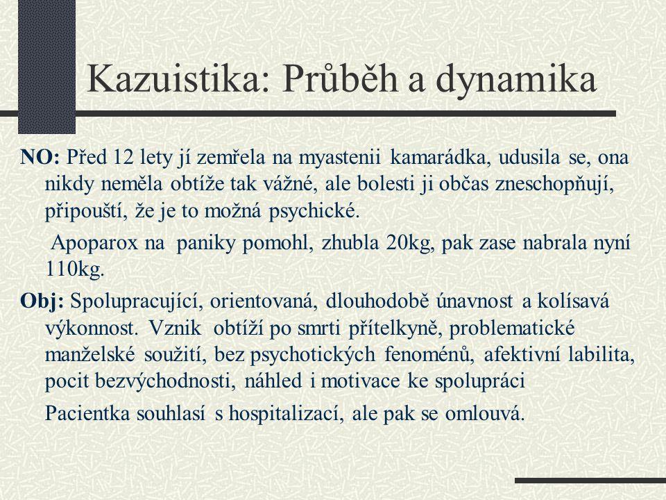 Kazuistika: Průběh a dynamika NO: Před 12 lety jí zemřela na myastenii kamarádka, udusila se, ona nikdy neměla obtíže tak vážné, ale bolesti ji občas