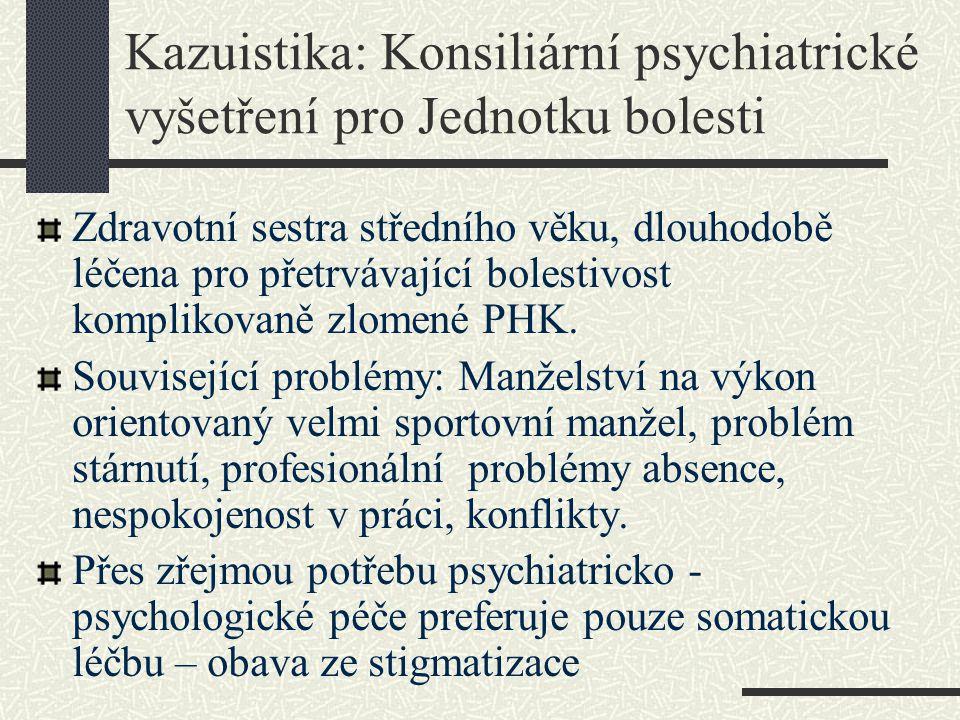 Kazuistika: Konsiliární psychiatrické vyšetření pro Jednotku bolesti Zdravotní sestra středního věku, dlouhodobě léčena pro přetrvávající bolestivost