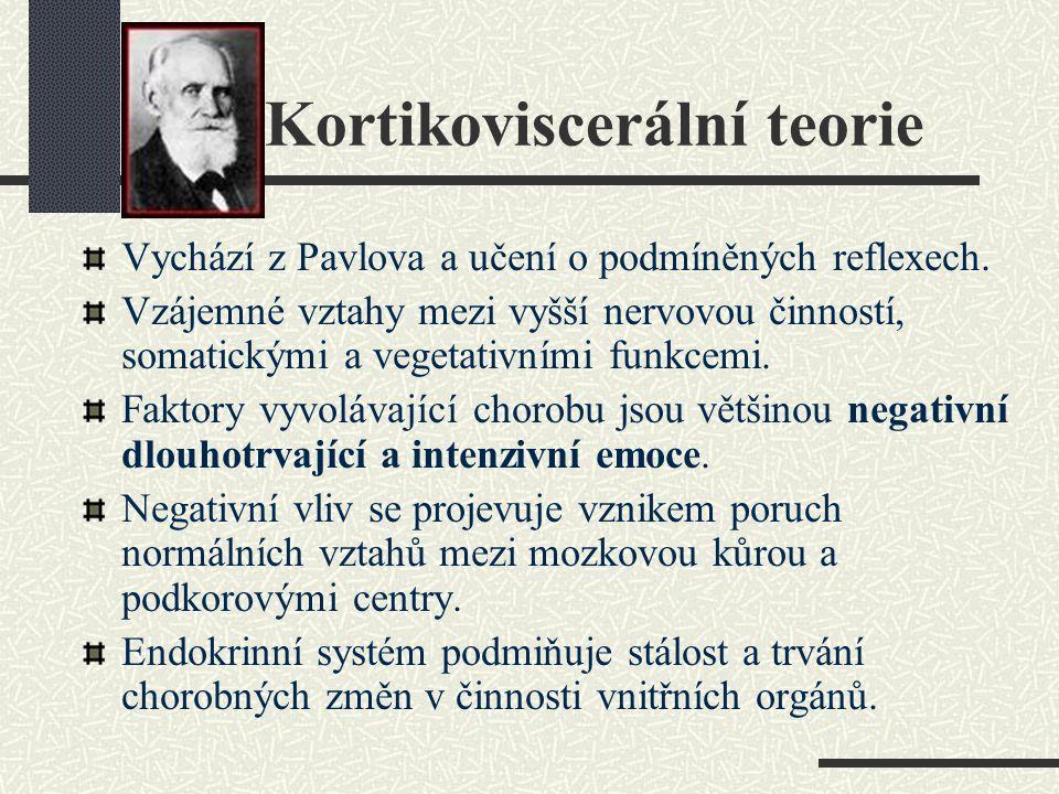 Kortikoviscerální teorie Vychází z Pavlova a učení o podmíněných reflexech. Vzájemné vztahy mezi vyšší nervovou činností, somatickými a vegetativními
