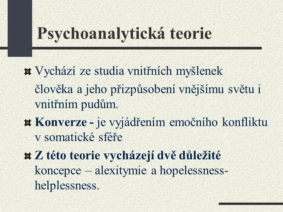 Psychoanalytická teorie Vychází ze studia vnitřních myšlenek člověka a jeho přizpůsobení vnějšímu světu i vnitřním pudům. Konverze - je vyjádřením emo
