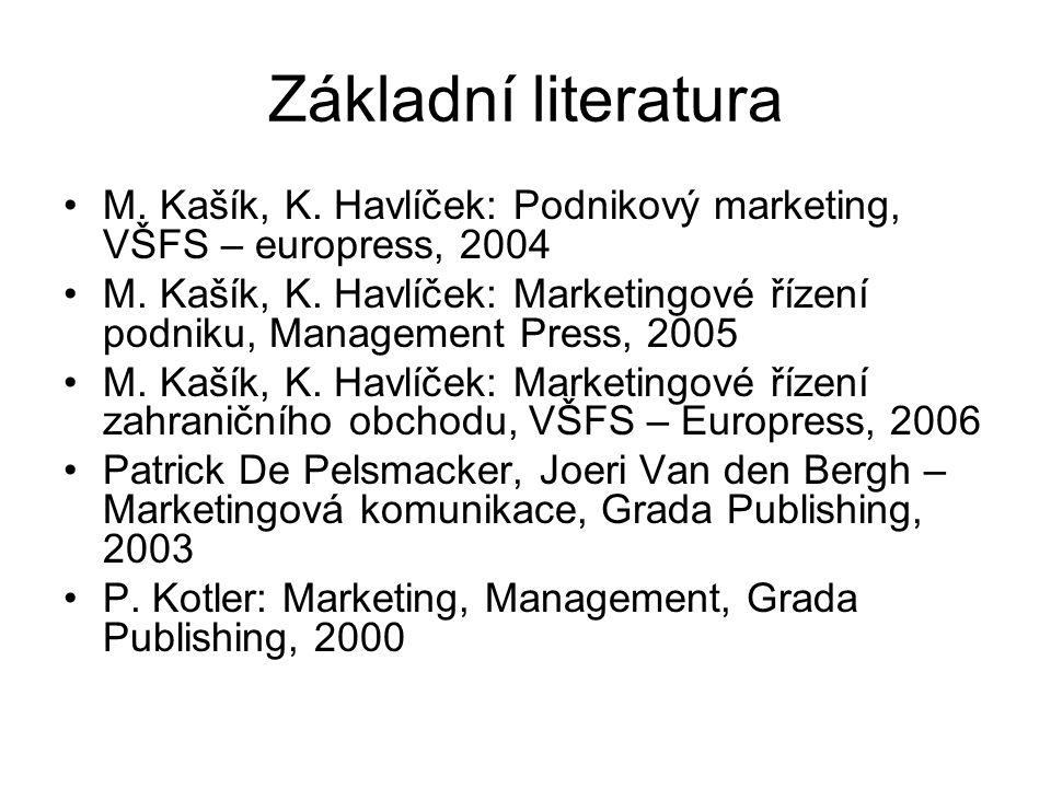Základní literatura M. Kašík, K. Havlíček: Podnikový marketing, VŠFS – europress, 2004 M. Kašík, K. Havlíček: Marketingové řízení podniku, Management