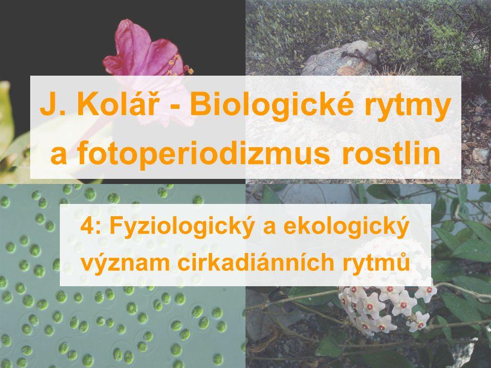 J. Kolář - Biologické rytmy a fotoperiodizmus rostlin 4: Fyziologický a ekologický význam cirkadiánních rytmů