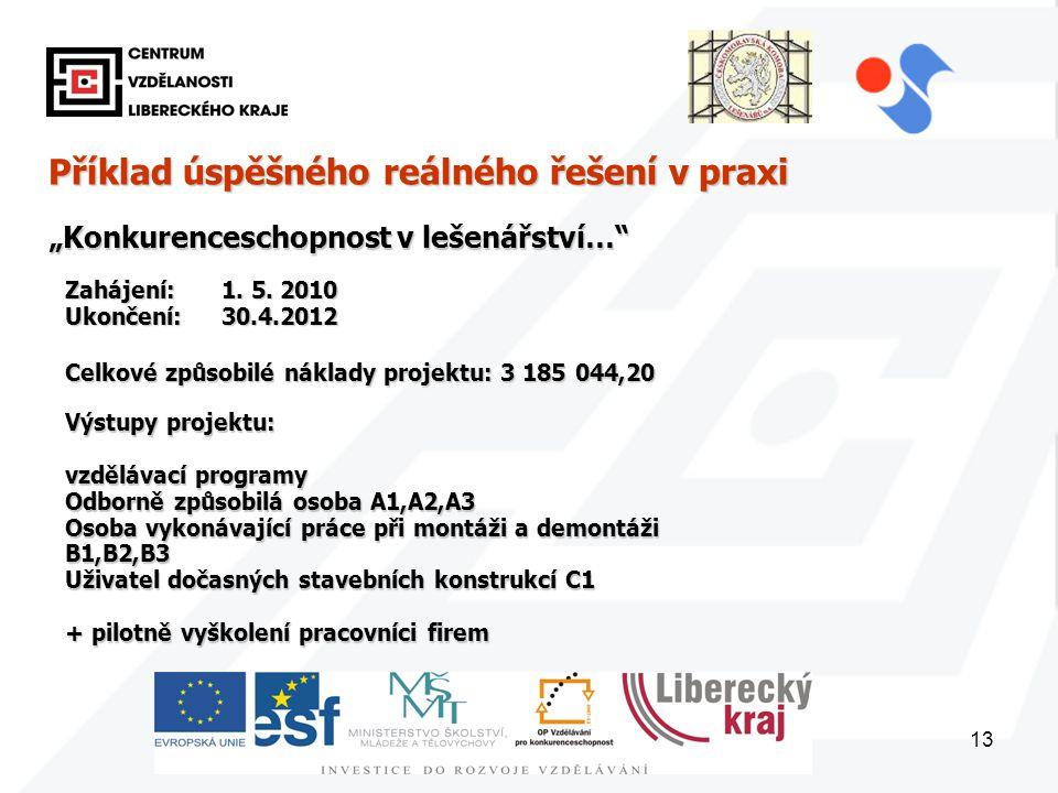 """13 Příklad úspěšného reálného řešení v praxi """"Konkurenceschopnost v lešenářství… Zahájení: 1."""